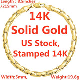 14K Solid Yellow Gold Bracelet Chain For Men Jewelry Women Jewelry 215mm 8.5' Stamped 14K