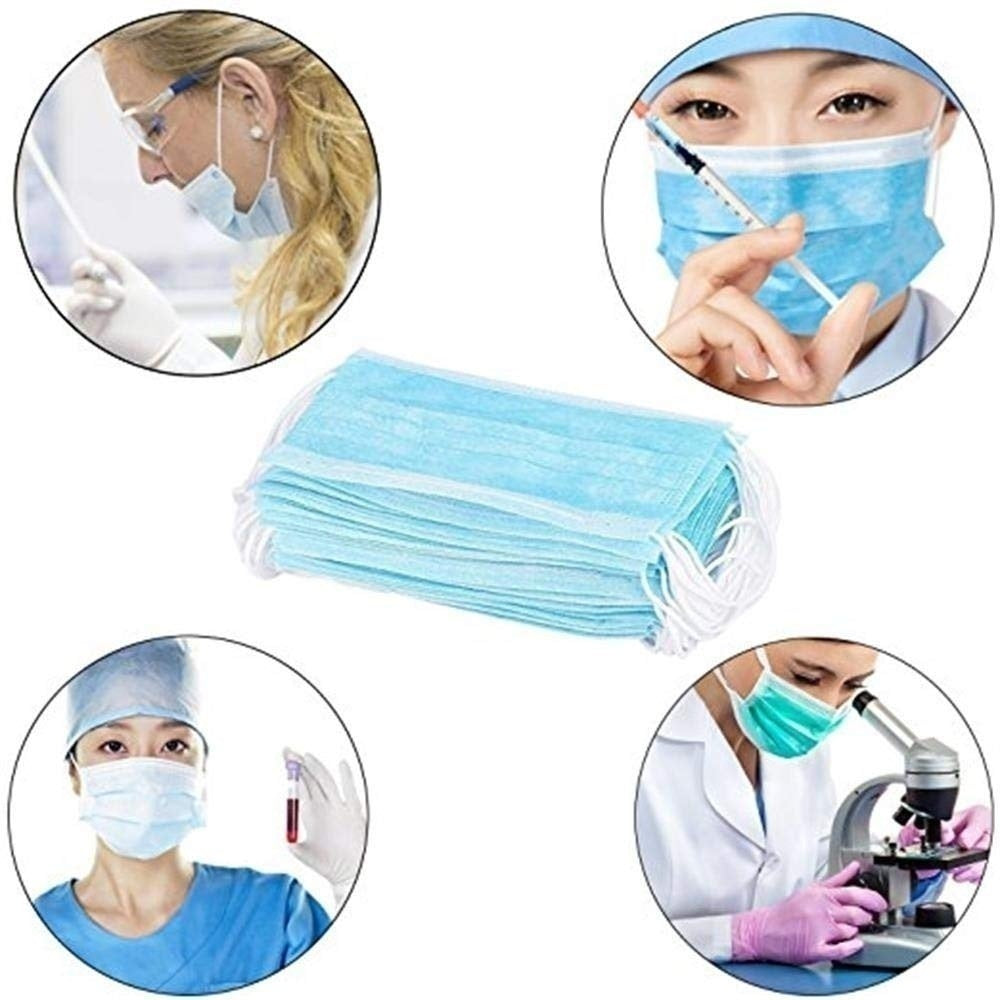 50 Pcs/20/10/5/1Pcs 3-Ply Disposable Face Mask, Dust Mask Flu Face Masks with Elastic Ear Loop