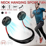 Sports Hanging Neck Fan Usb Rechargeable Portable Mini Double Wind Head Neckband Fan For Home Office Outdoor Traveling