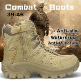 Men's Military Tactical Army Boots Suede Leather Desert Outdoor Combat Boots Male Army Hiking Boots  Desert Wild Trekking Shoes (39-46)