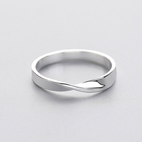 Minimalist Geometric Wave Ring Real 925 Sterling Silver Fine Jewelry for Charm Women Birthday Party Accessories Gift