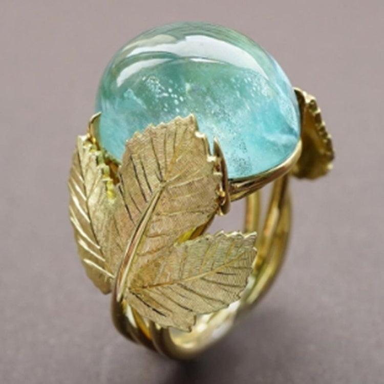 Vintage 18K Solid Yellow Gold Natural Emerald Leaf Ring Women Wedding Engagement Party Rings Jewelry