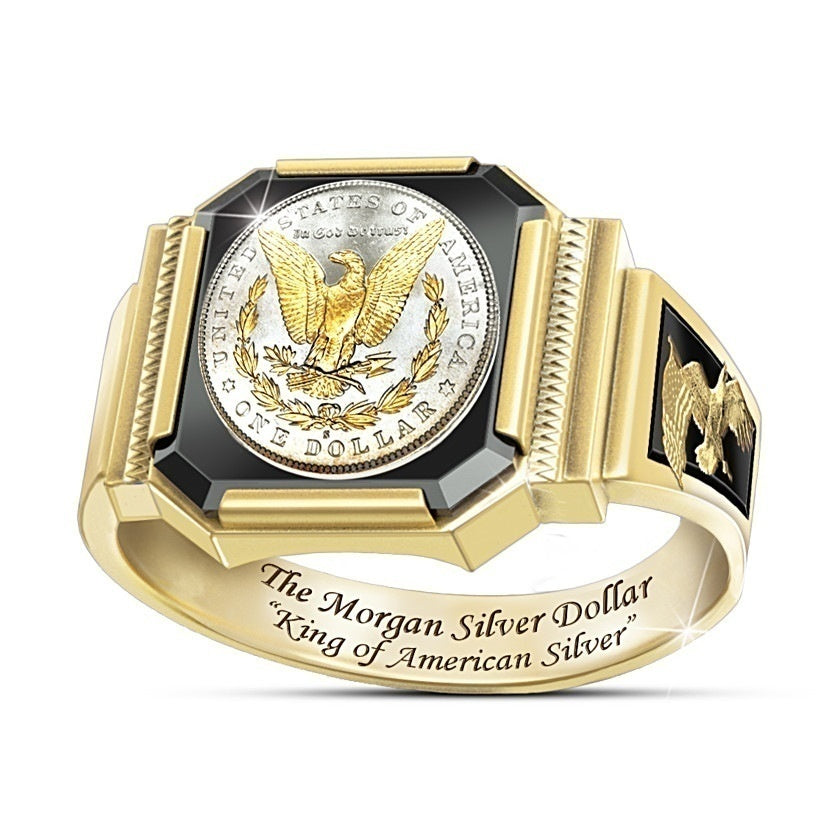 Sparkling 925 Sterling Silver Men Rings Two Tone 18k Gold Eagle Diamond Ring Men Party Anniversary High Jewelry Size 7-13