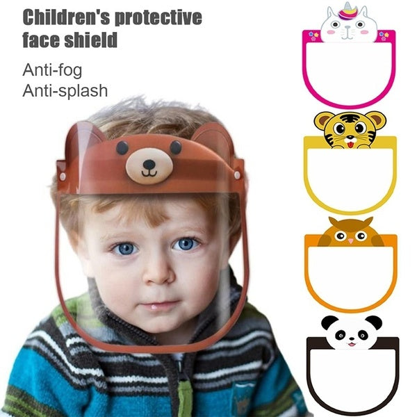 Adjustable Cartoon Animal Hat-Mounted Protective Full Face Shield Anti-fog Visor Anti-spittle Safety Guards For Kids