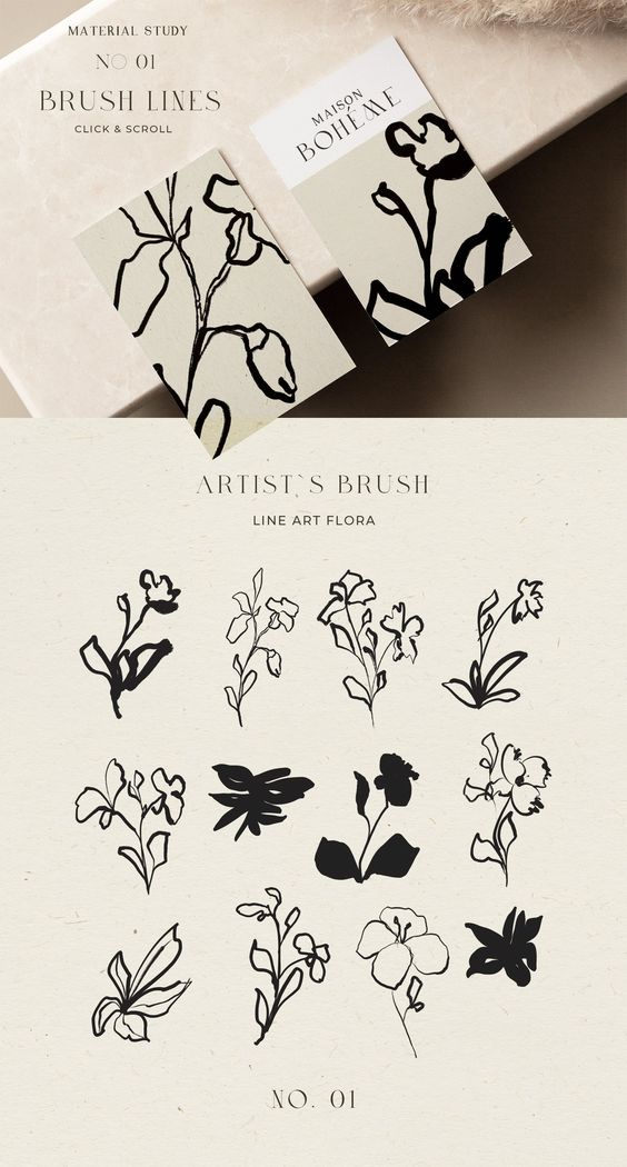 Abstract Floral Line Art & Poster by Laras Wonderland on @creativemarket