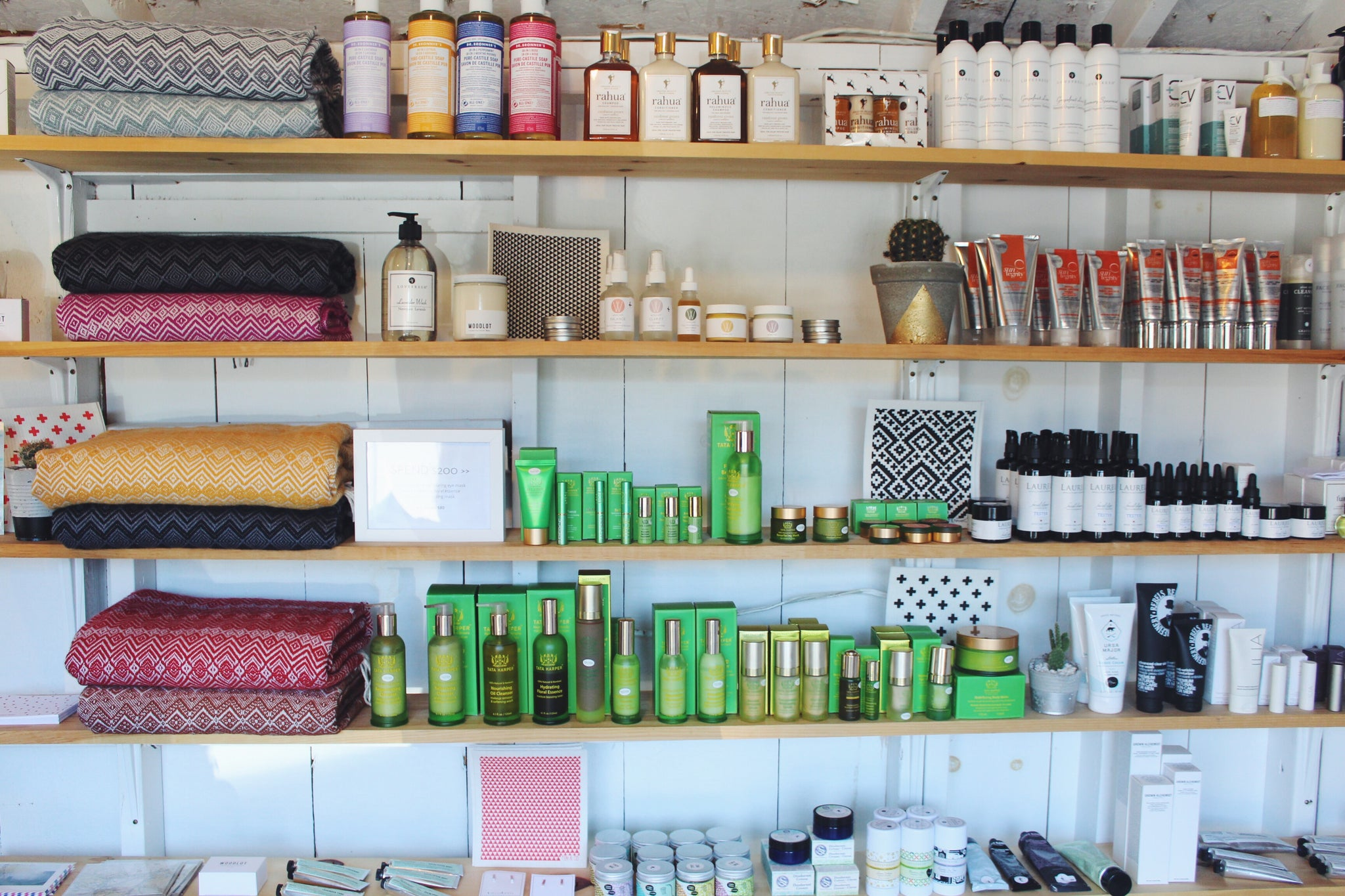 Holistic and natural health and beauty items line every wall.