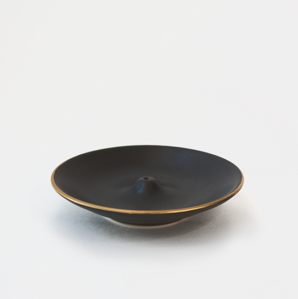 Black Gold Rim Incense Holder