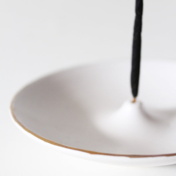 Gold Rim Ceramic Incense Holder