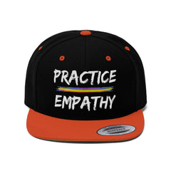 Embroidered Flat Bill Hat, Rainbow Logo (OFFICIAL Snapback)-Hats-Practice Empathy