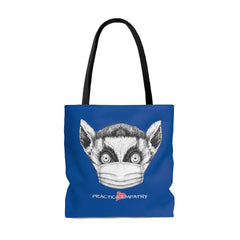 Large Tote Bag, Lenny the Lemur, royal blue-Bags-Practice Empathy