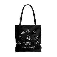 Large Tote Bag, Mantras of the Mind, male, black-Bags-Practice Empathy