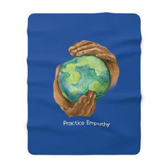 Sherpa Fleece Blanket, Nourishing Home, royal blue-Home Decor-Practice Empathy