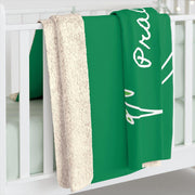 Sherpa Fleece Blanket, Olive Branch Logo, forest green-Home Decor-Practice Empathy