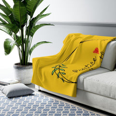 Sherpa Fleece Blanket, Olive Branch Logo, yellow-Home Decor-Practice Empathy