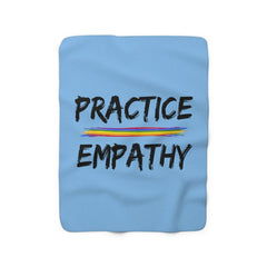 Sherpa Fleece Blanket, Rainbow Logo, Carolina blue-Home Decor-Practice Empathy