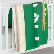Sherpa Fleece Blanket, Rainbow Logo, forest green-Home Decor-Practice Empathy