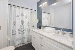 Shower Curtain, Mantras of the Mind, female, white-Home Decor-Practice Empathy