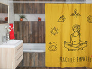 Shower Curtain, Mantras of the Mind, female, yellow-Home Decor-Practice Empathy