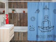 Shower Curtain, Mantras of the Mind, male, Carolina blue-Home Decor-Practice Empathy