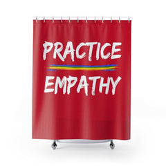Shower Curtain, Rainbow Logo, dark red-Home Decor-Practice Empathy