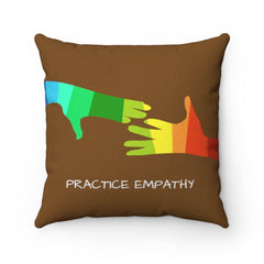 Spun Polyester Square Pillow, My Hand to Yours, brown-Home Decor-Practice Empathy
