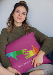 Spun Polyester Square Pillow, My Hand to Yours, magenta-Home Decor-Practice Empathy