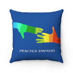 Spun Polyester Square Pillow, My Hand to Yours, royal blue-Home Decor-Practice Empathy