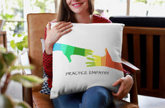 Spun Polyester Square Pillow, My Hand to Yours, white-Home Decor-Practice Empathy