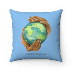 Spun Polyester Square Pillow, Nourishing Home, Carolina blue-Home Decor-Practice Empathy