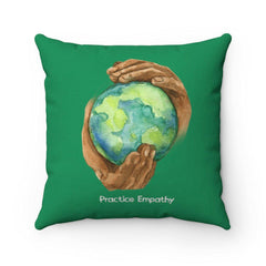 Spun Polyester Square Pillow, Nourishing Home, forest green-Home Decor-Practice Empathy