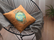 Spun Polyester Square Pillow, Nourishing Home, orange-Home Decor-Practice Empathy