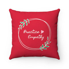Spun Polyester Square Pillow, Olive Branch Logo, deep red-Home Decor-Practice Empathy