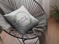 Spun Polyester Square Pillow, Olive Branch Logo, light gray-Home Decor-Practice Empathy