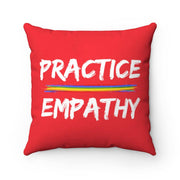 Spun Polyester Square Pillow, Rainbow Logo, bright red-Home Decor-Practice Empathy