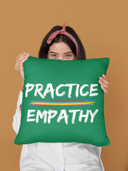Spun Polyester Square Pillow, Rainbow Logo, forest green-Home Decor-Practice Empathy
