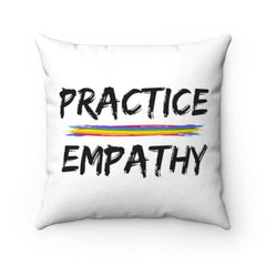 Spun Polyester Square Pillow, Rainbow Logo, white-Home Decor-Practice Empathy