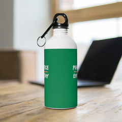 Stainless Steel Water Bottle, Rainbow Logo, forest green-Mug-Practice Empathy
