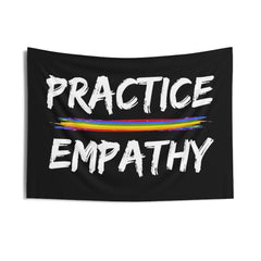 Wall Tapestry, Rainbow Logo, black-Home Decor-Practice Empathy