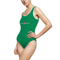 Women's Classic One-Piece Swimsuit, Classic Logo, green-All Over Prints-Practice Empathy