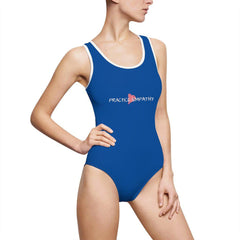 Women's Classic One-Piece Swimsuit, Classic Logo, royal blue-All Over Prints-Practice Empathy