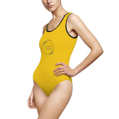 Women's Classic One-Piece Swimsuit, Olive Branch Logo, yellow-All Over Prints-Practice Empathy