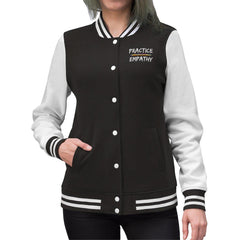 Women's Embroidered Varsity Jacket, Rainbow Logo-Long-sleeve-Practice Empathy