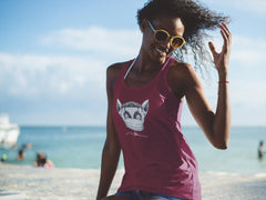 Women's Ideal Racerback Tank, Lenny the Lemur-Tank Top-Practice Empathy