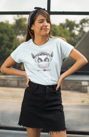 Women's Short Sleeve Graphic Tee, Lenny the Lemur-T-Shirt-Practice Empathy