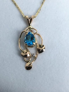3 Leaf Swiss Blue Topaz & Diamond Pendant