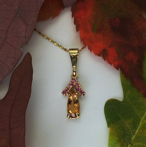 Imperial Topaz and Pink Sapphire Necklace
