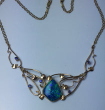 Load image into Gallery viewer, Ornate 3 Piece Crystal Opal & Tanzanite Necklace