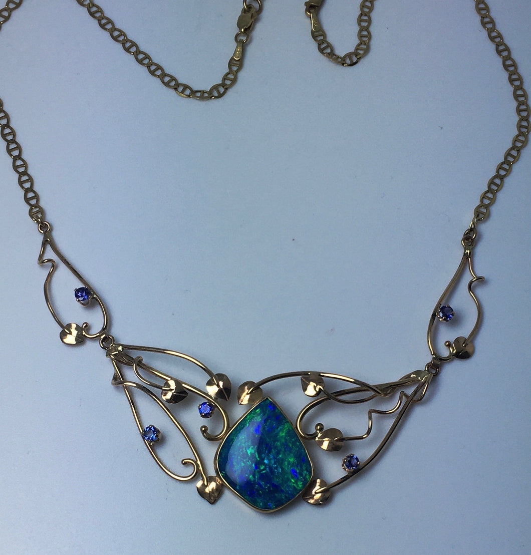 Ornate 3 Piece Crystal Opal & Tanzanite Necklace