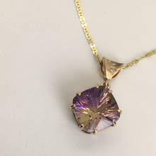Load image into Gallery viewer, Ametrine and Diamond Bail Pendant (Amethyst)