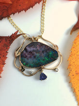 Load image into Gallery viewer, Boulder Opal and Tanzanite Necklace in Autumn Colors